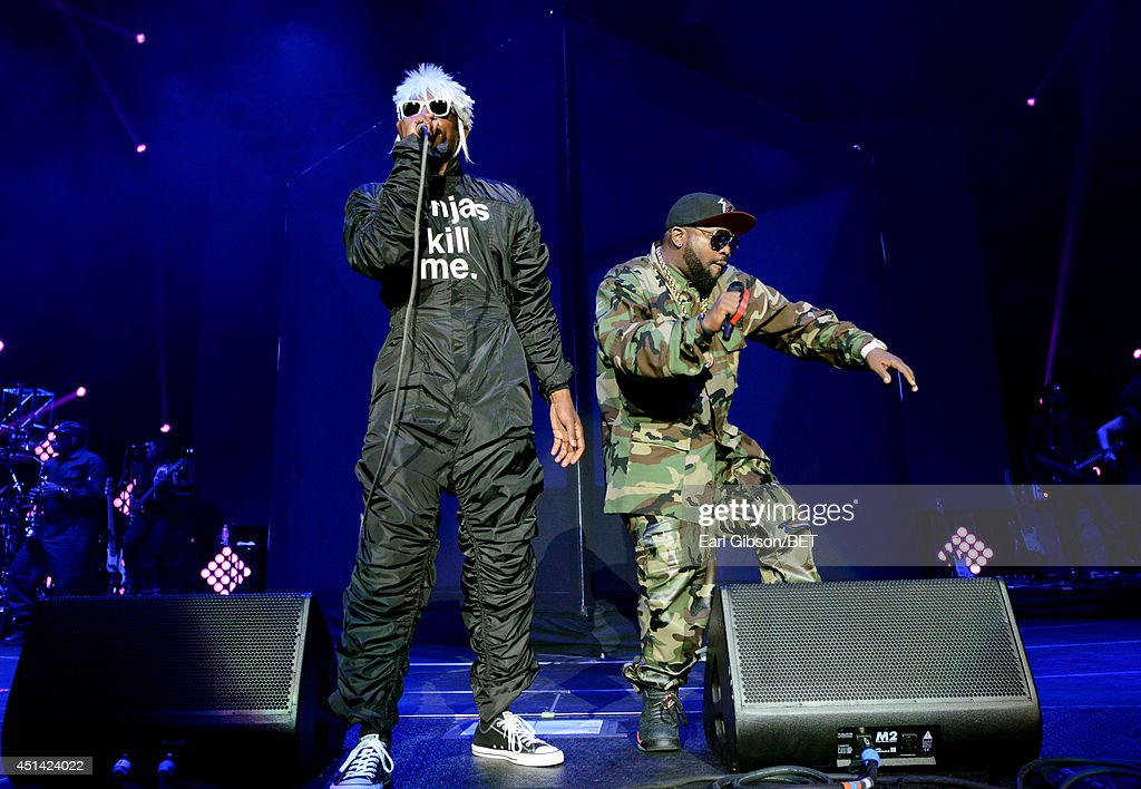 Andre 3000 (L) and Big Boi of Outkast perform onstage at the OutKast, A$AP Rocky, Rick Ross, K. Michelle, August Alsina & Ty Dolla $ign Presented By Sprite during the 2014 BET Experience At L.A. LIVE on June 28, 2014 in Los Angeles, California.