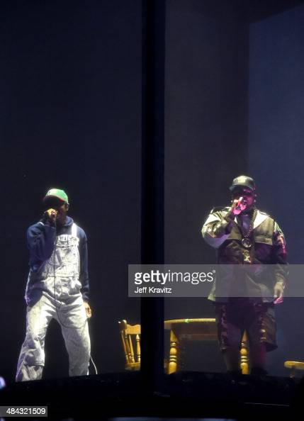 Andre 3000 and Big Boi of Outkast perform onstage during day 1 of the 2014 Coachella Valley Music Arts Festival at the Empire Polo Club on April 11...