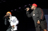 Andre 3000 and Big Boi of Outkast perform onstage during day 1 of the 2014 Coachella Valley Music Arts Festival at the Empire Polo Club on April 18...