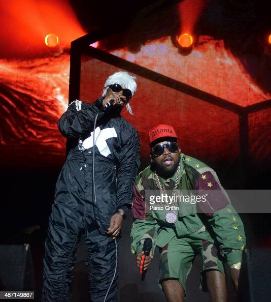 Andre 3000 and Big Boi of Outkast perform onstage during the 2014 Counterpoint Festival at Kingston Downs on April 27 2014 in Rome Georgia
