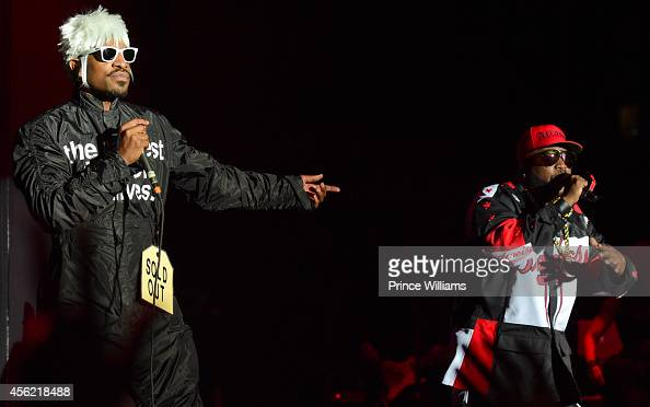 Andre 3000 and Big Boi perform at Centennial Olympic Park on September 26 2014 in Atlanta Georgia
