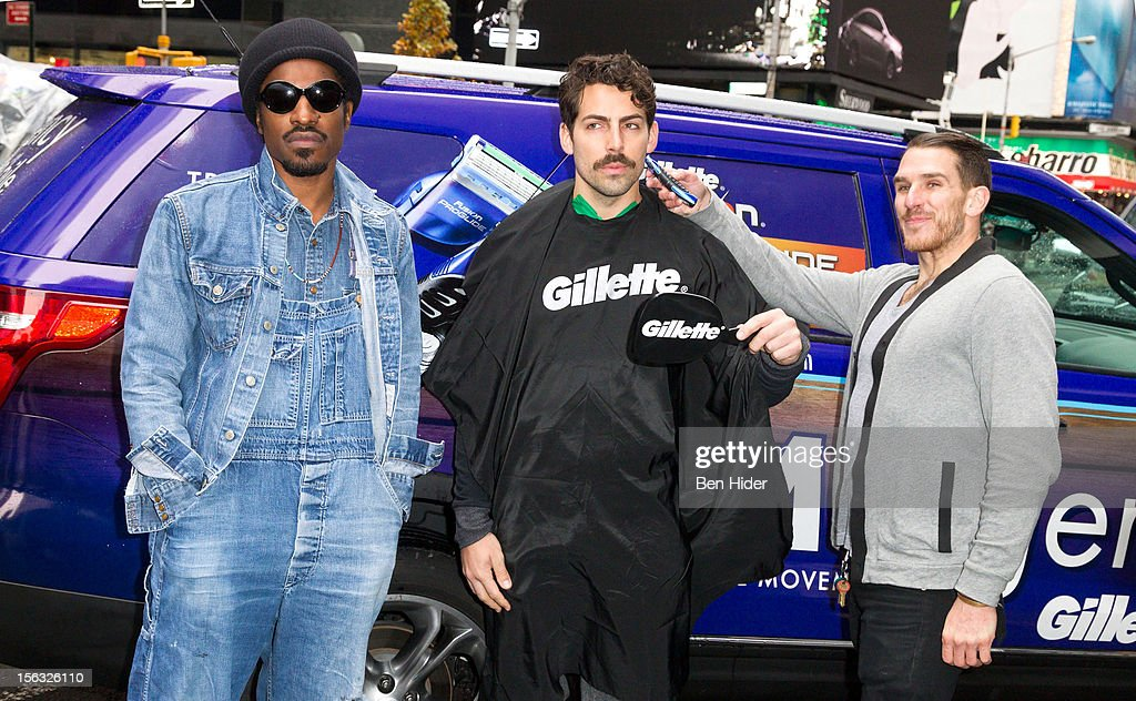 <a gi-track='captionPersonalityLinkClicked' href=/galleries/search?phrase=Andre+3000&family=editorial&specificpeople=220195 ng-click='$event.stopPropagation()'>Andre 3000</a> (L) attends the Gillette 'Movember' Event on November 13, 2012 in New York City.