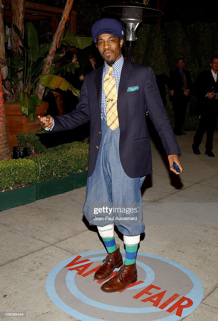 <a gi-track='captionPersonalityLinkClicked' href=/galleries/search?phrase=Andre+3000&family=editorial&specificpeople=220195 ng-click='$event.stopPropagation()'>Andre 3000</a> from OutKast during 2004 Vanity Fair Oscar Party - Arrivals at Mortons in Beverly Hills, California, United States.