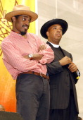 Andre 3000 of Outkast and Reverend Run during Playstation 2 HipHop Summit July 2004 in Boston Massachusetts