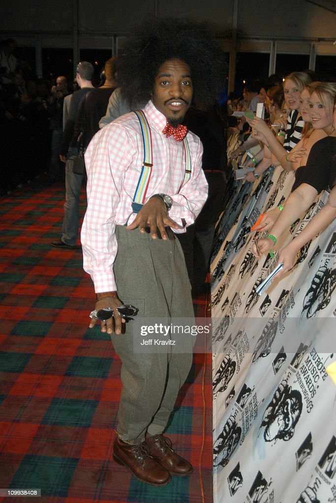 <a gi-track='captionPersonalityLinkClicked' href=/galleries/search?phrase=Andre+3000&family=editorial&specificpeople=220195 ng-click='$event.stopPropagation()'>Andre 3000</a> of OutKast during MTV Europe Music Awards 2003 - Arrivals at Ocean Terminal Arena in Edinburgh, Scotland.