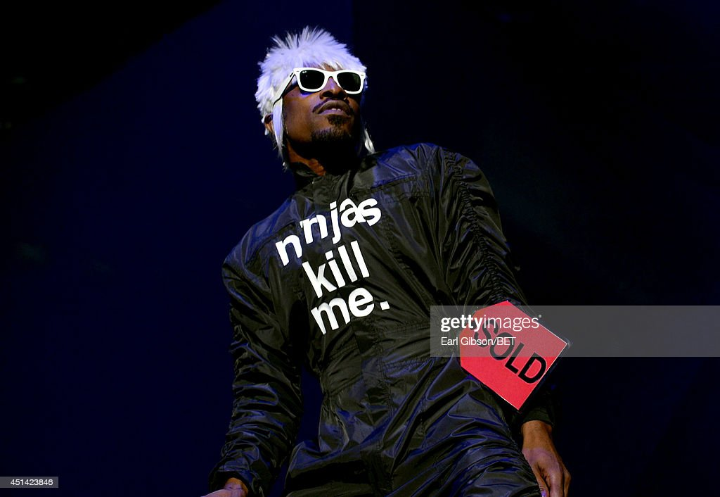 <a gi-track='captionPersonalityLinkClicked' href=/galleries/search?phrase=Andre+3000&family=editorial&specificpeople=220195 ng-click='$event.stopPropagation()'>Andre 3000</a> of Outkast performs onstage at the OutKast, A$AP Rocky, Rick Ross, K. Michelle, August Alsina & Ty Dolla $ign Presented By Sprite during the 2014 BET Experience At L.A. LIVE on June 28, 2014 in Los Angeles, California.