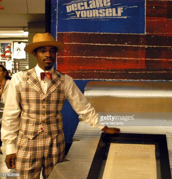 Andre 3000 with The Declaration Of Independence during 'Declare Yourself' Photo Call with Andre 3000 and Norman Lear at The Fleet Center in Boston...