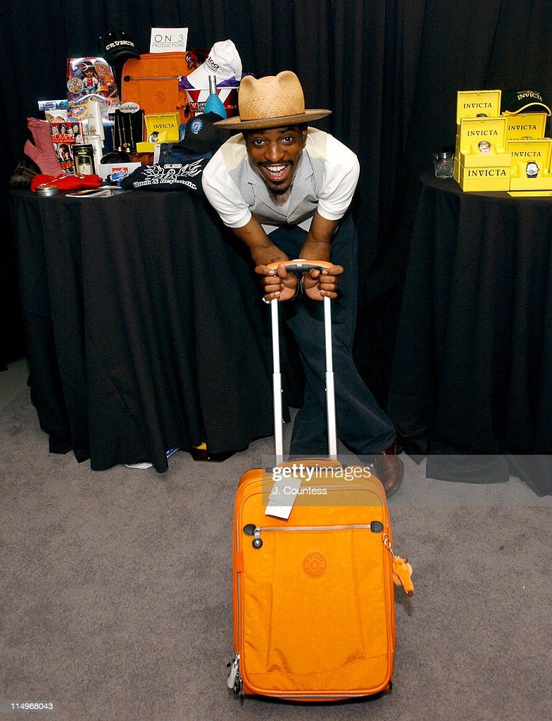 Andre 3000 with with Kipling South Beach Travel Bag containing Talent Gift Items