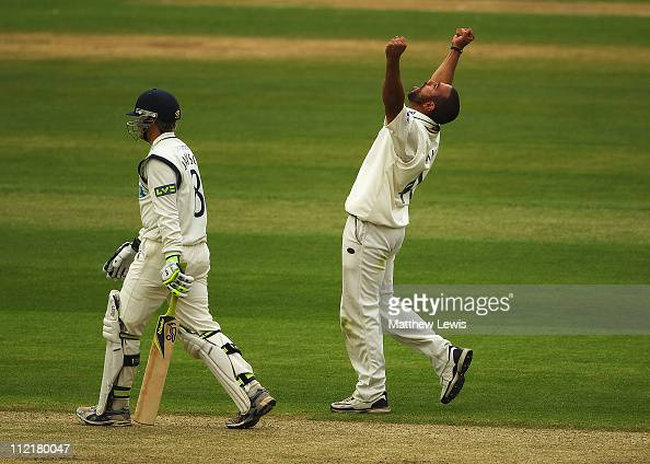 Andre Adams of Nottinghamshire celebrates the wicket of Liam Dawson after he was bowled LBW during the LV County Championship Division One match...