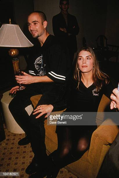 Andre Agassi With Brooke Shields At 'All Star Cafe' Opens In Time Square New York City
