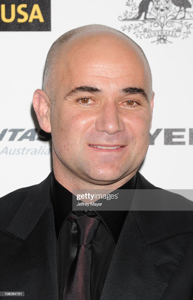 <a gi-track='captionPersonalityLinkClicked' href=/galleries/search?phrase=Andre+Agassi&family=editorial&specificpeople=157607 ng-click='$event.stopPropagation()'>Andre Agassi</a> arrives at the G'Day USA Australia Week 2011 Black Tie Gala at Hollywood Palladium on January 22, 2011 in Hollywood, California.