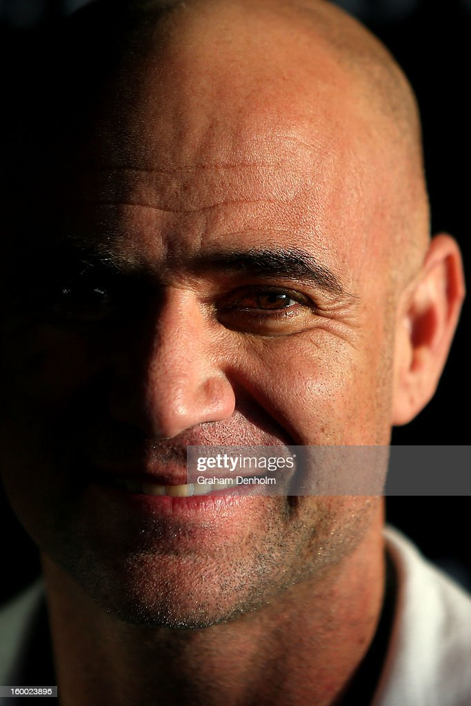 <a gi-track='captionPersonalityLinkClicked' href=/galleries/search?phrase=Andre+Agassi&family=editorial&specificpeople=157607 ng-click='$event.stopPropagation()'>Andre Agassi</a> arrives at the screening of the Jacob's Creek Open Film Series 2 at Maia Docklands on January 25, 2013 in Melbourne, Australia.