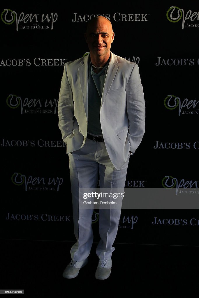Andre Agassi arrives at the screening of the Jacob's Creek Open Film Series 2 at Maia Docklands on January 25, 2013 in Melbourne, Australia.