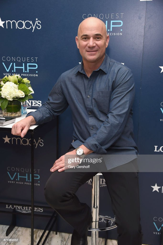 Andre Agassi attends the launch of Longines Master Collection Watch at Macy's Herald Square on November 7, 2017 in New York City.
