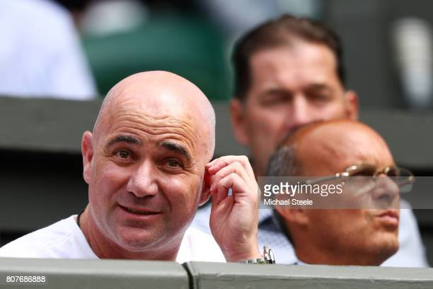 Andre Agassi coach of Novak Djokovic looks ahead of the Gentlemen's Singles first round match between Martin Klizan of Slovakia and Novak Djokovic of...