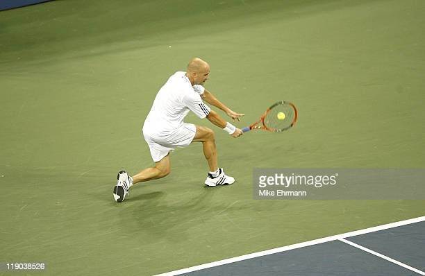 Andre Agassi during a first round match against Andrei Pavel at the 2006 US Open at the USTA Billie Jean King National Tennis Center in Flushing...
