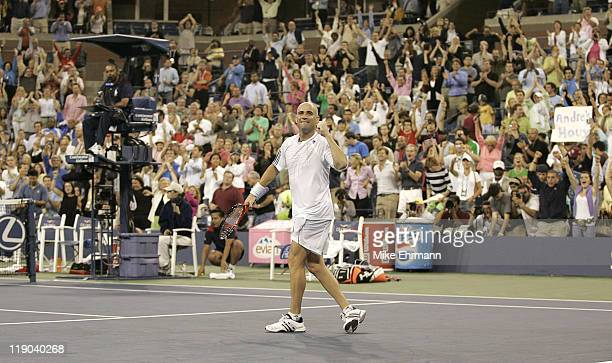 Andre Agassi during a first round match against Andrei Pavel at the 2006 US Open at the USTA National Tennis Center in Flushing Queens New York on...