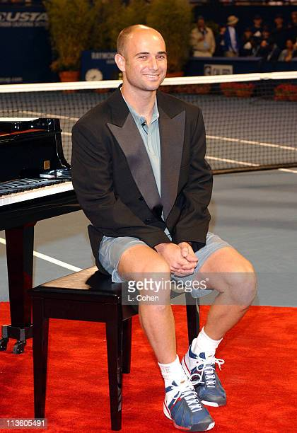 Andre Agassi during MercedesBenz Cup 'Night at the Net' ProAm Celebrity Match at Stadium Court UCLA in Los Angeles California United States