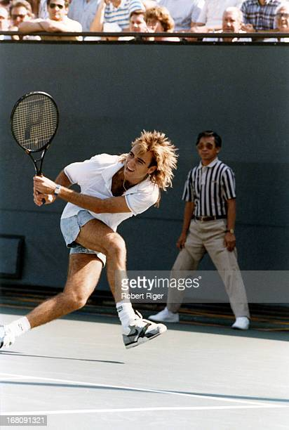 Andre Agassi hist a backhand during the 1988 LA Tennis Open in September 1988 in Los Angeles California