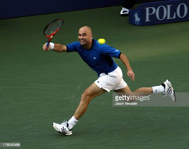 Andre Agassi in action in his Men's Finals match at the 2005 US Open at Arthur Ashe Stadium in Flushing New York on September 11 2005