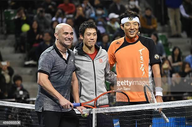 Andre Agassi Kei Nishikori and Shuzo Matsuoka attend the Dream Tennis exhibition match at Ariake Coliseum on November 22 2014 in Tokyo Japan
