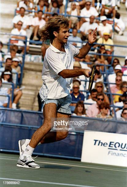 Andre Agassi of the United States hits the forehand during his match at the 1988 US Open in Flushing Meadows New York