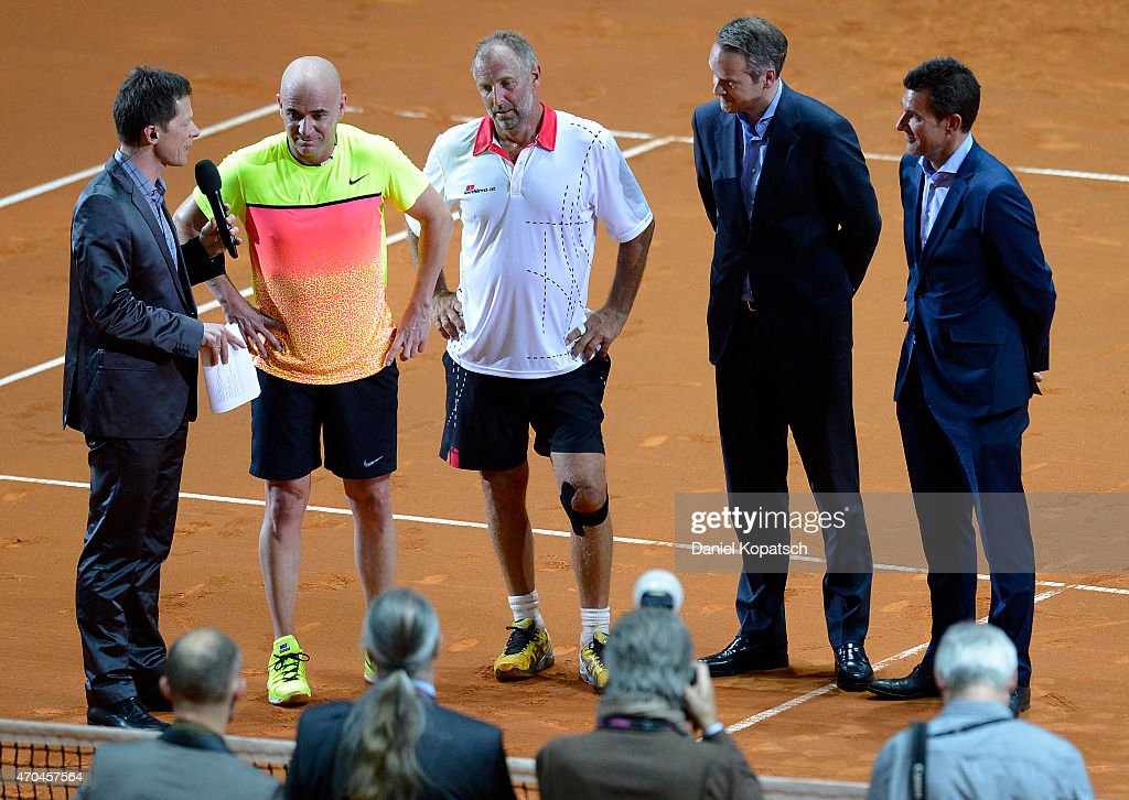 Andre Agassi (2nd L) of the USA and <a gi-track='captionPersonalityLinkClicked' href=/galleries/search?phrase=Thomas+Muster&family=editorial&specificpeople=211582 ng-click='$event.stopPropagation()'>Thomas Muster</a> (C) of Austria react after their Berenberg Classic match against on day one of the Porsche Tennis Grand Prix at Porsche-Arena on April 20, 2015 in Stuttgart, Germany.