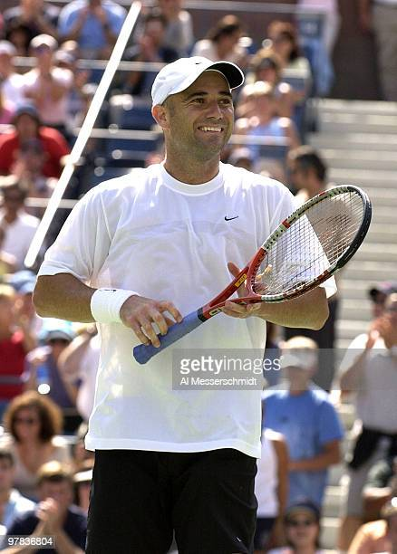 Andre Agassi U S A smiles at the crowd after the final point Sunday August 31 2003 at the U S Open in New York Agassi the top seed in the tournament...