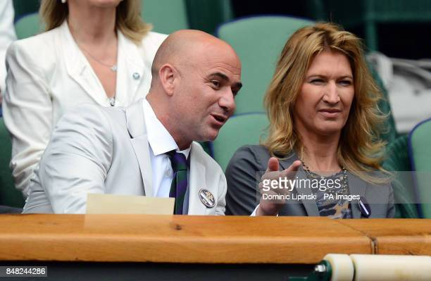 Andre Agassi with Stefanie Graf in the Royal Box during day nine of the 2012 Wimbledon Championships at the All England Lawn Tennis Club Wimbledon