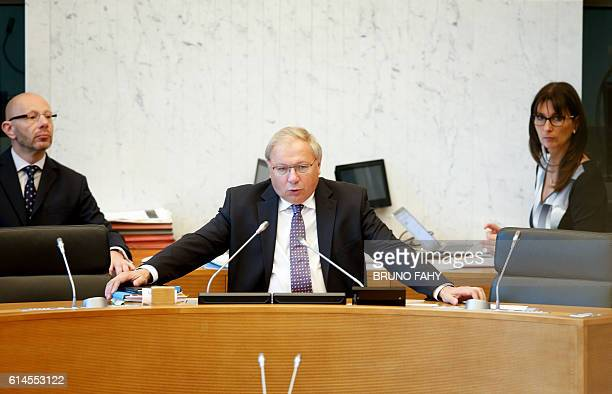 Andre Antoine chairman of the Belgium's Frenchspeaking region of Wallonia parliament gives a speech during a plenary session of the Walloon...