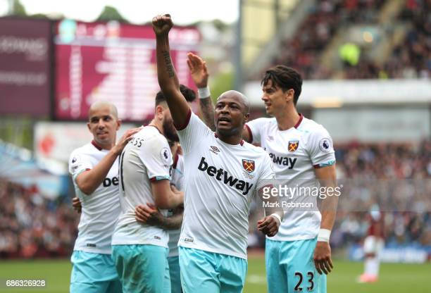 Andre Ayew o West Ham United celebrates scoring his sides second goal during the Premier League match between Burnley and West Ham United at Turf...