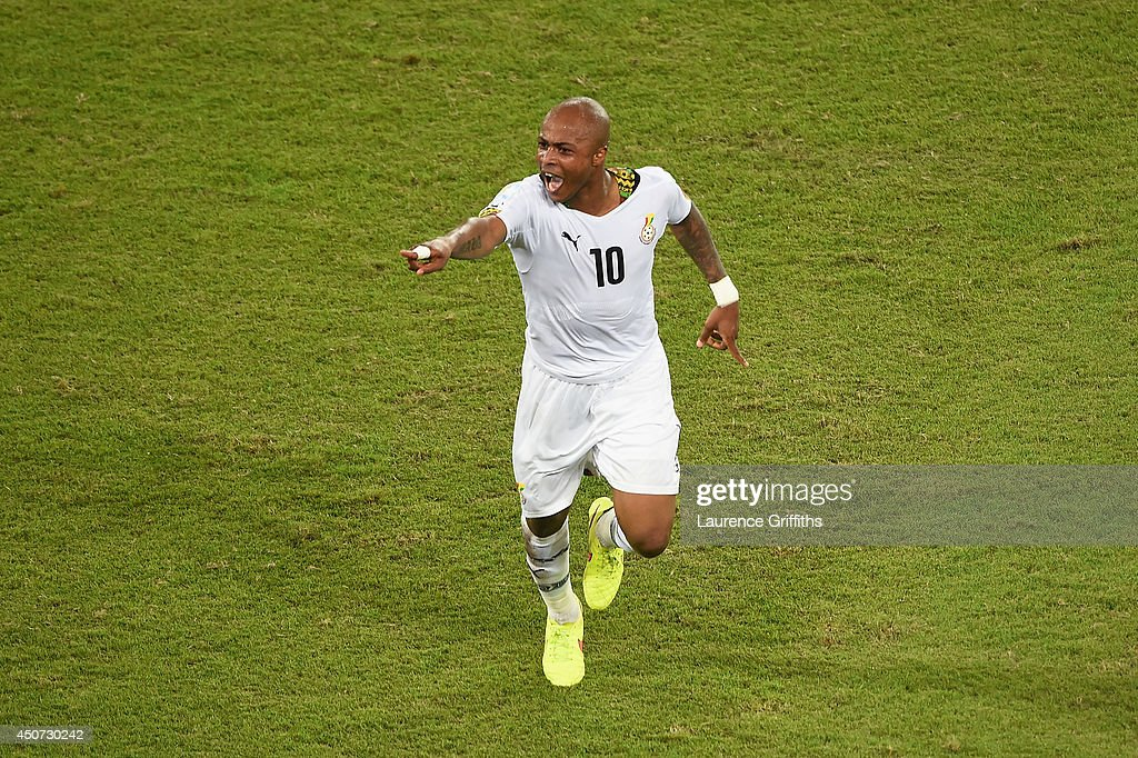 Andre Ayew of Ghana celebrates after scoring his team's first goal during the 2014 FIFA World Cup Brazil Group G match between Ghana and the United States at Estadio das Dunas on June 16, 2014 in Natal, Brazil.