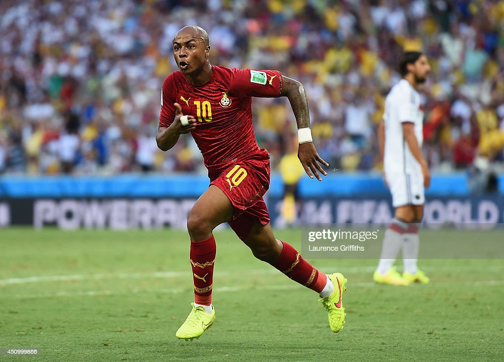 Andre Ayew of Ghana celebrates scoring his team's first goal during the 2014 FIFA World Cup Brazil Group G match between Germany and Ghana at Castelao on June 21, 2014 in Fortaleza, Brazil.