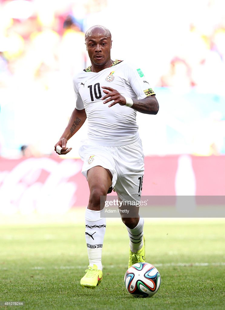 Andre Ayew of Ghana controls the ball during the 2014 FIFA World Cup Brazil Group G match between Portugal and Ghana at Estadio Nacional on June 26...