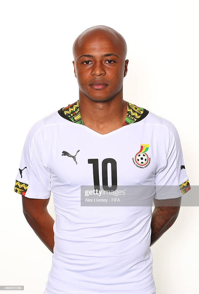 Andre Ayew of Ghana poses during the official FIFA World Cup 2014 portrait session on June 11, 2014 in Maceio, Brazil.