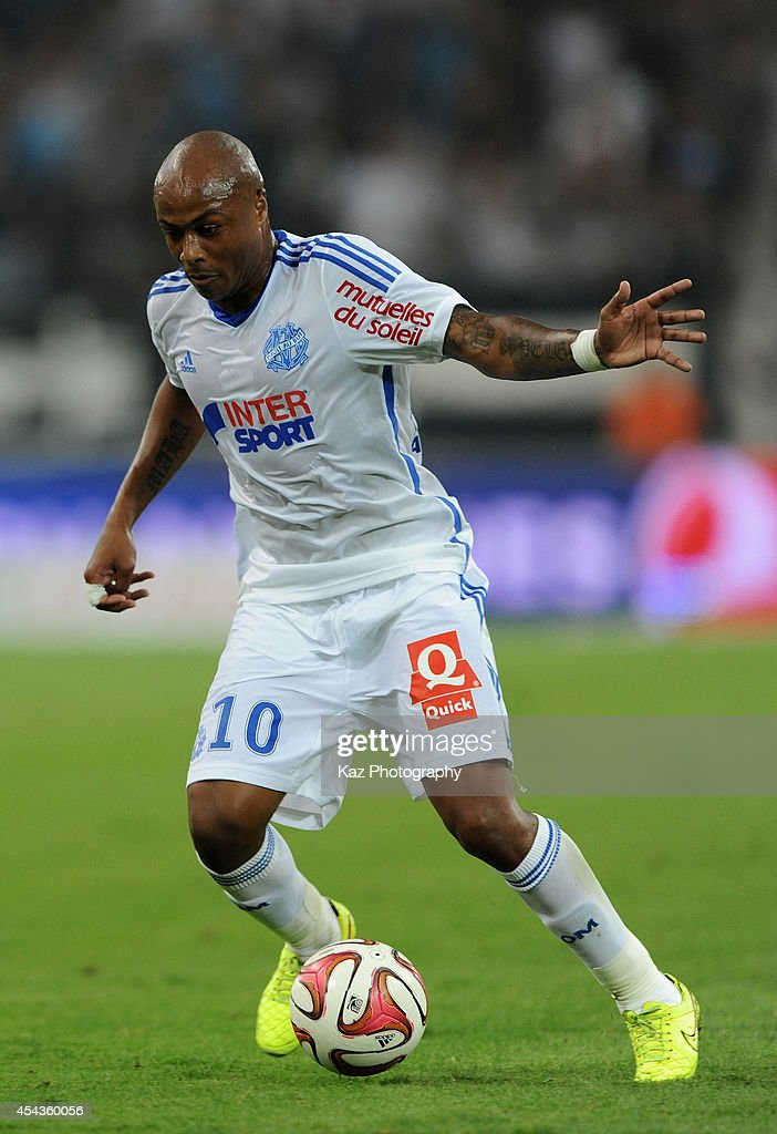 Andre Ayew of Marseille in action during the French Ligue 1 match between Olympique de Marseille and OGC Nice at Stade Velodrome on August 29, 2014 in Marseille, France.