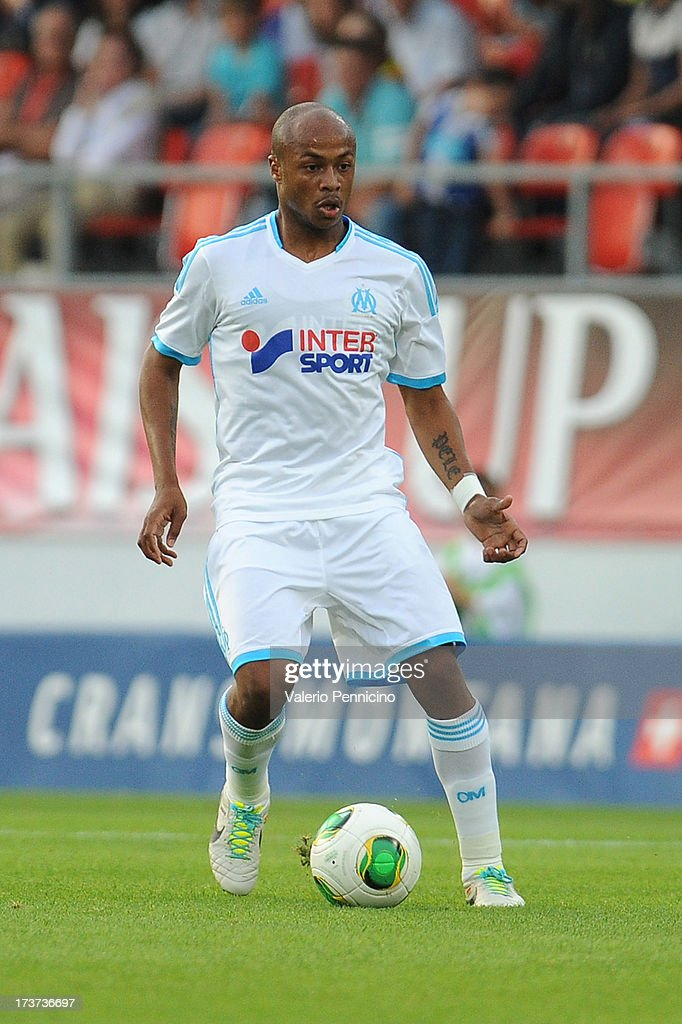 Andre Ayew of Olympique Marseille in action during the pre-season friendly match between FC Porto and Olympique Marseille at Estadio Tourbillon on July 13, 2013 in Sion, Switzerland.