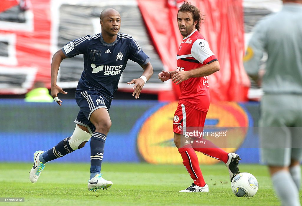 Andre Ayew of OM in action during the French Ligue 1 match between Valenciennes FC and Olympique de Marseille OM at the Stade du Hainaut stadium on August 24, 2013 in Valenciennes, France.