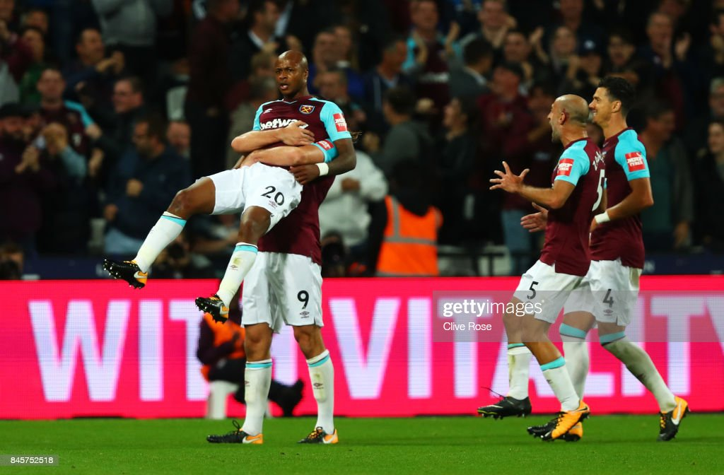 Andre Ayew of West Ham United (20) celebrates as he scores their second goal during the Premier League match between West Ham United and Huddersfield Town at London Stadium on September 11, 2017 in London, England.