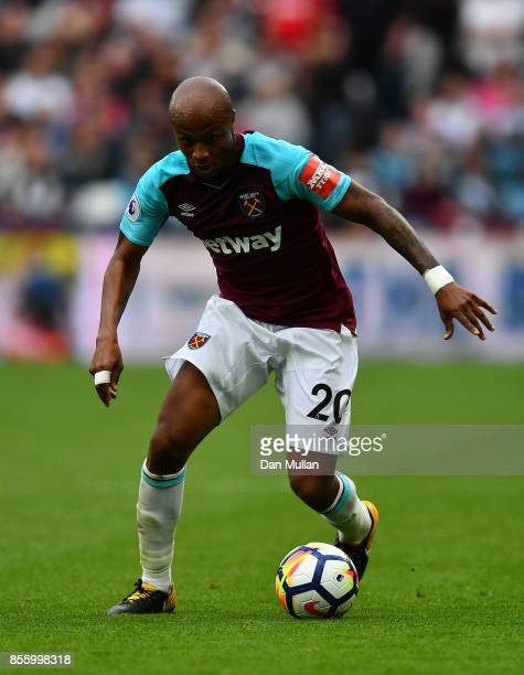 Andre Ayew of West Ham United controls the ball during the Premier League match between West Ham United and Swansea City at London Stadium on...