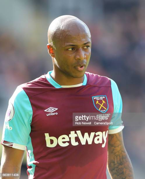 Andre Ayew of West Ham United during the Premier League match between Hull City and West Ham United at KCOM Stadium on April 1 2017 in Hull England