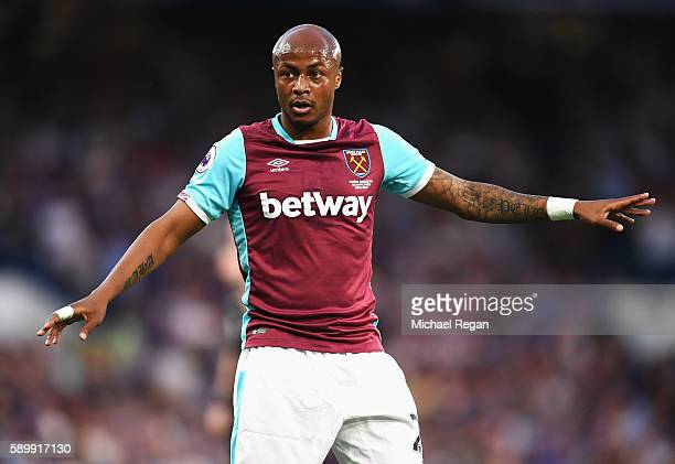 Andre Ayew of West Ham United looks on during the Premier League match between Chelsea and West Ham United at Stamford Bridge on August 15 2016 in...