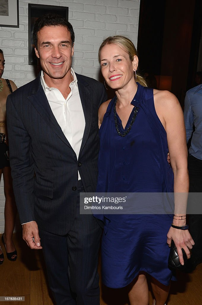 Andre Balazs and Chelsea Handler attend the Aby Rosen & Samantha Boardman dinner at The Dutch on December 6, 2012 in Miami, Florida.