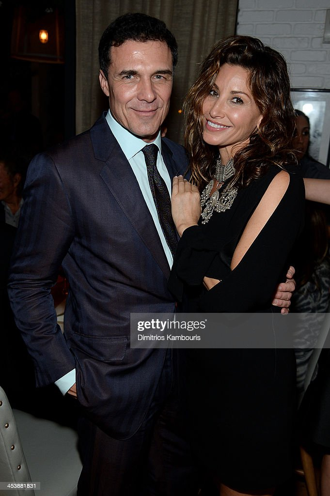 Andre Balazs and <a gi-track='captionPersonalityLinkClicked' href=/galleries/search?phrase=Gina+Gershon&family=editorial&specificpeople=203099 ng-click='$event.stopPropagation()'>Gina Gershon</a> attend the Aby Rosen & Samantha Boardman Dinner at The Dutch on December 5, 2013 in Miami Beach, Florida.