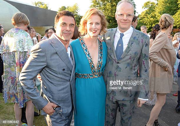 Andre Balazs Julia Peyton Jones and HansUlrich Obrist attend The Serpentine Gallery Summer Party cohosted by Brioni at The Serpentine Gallery on July...