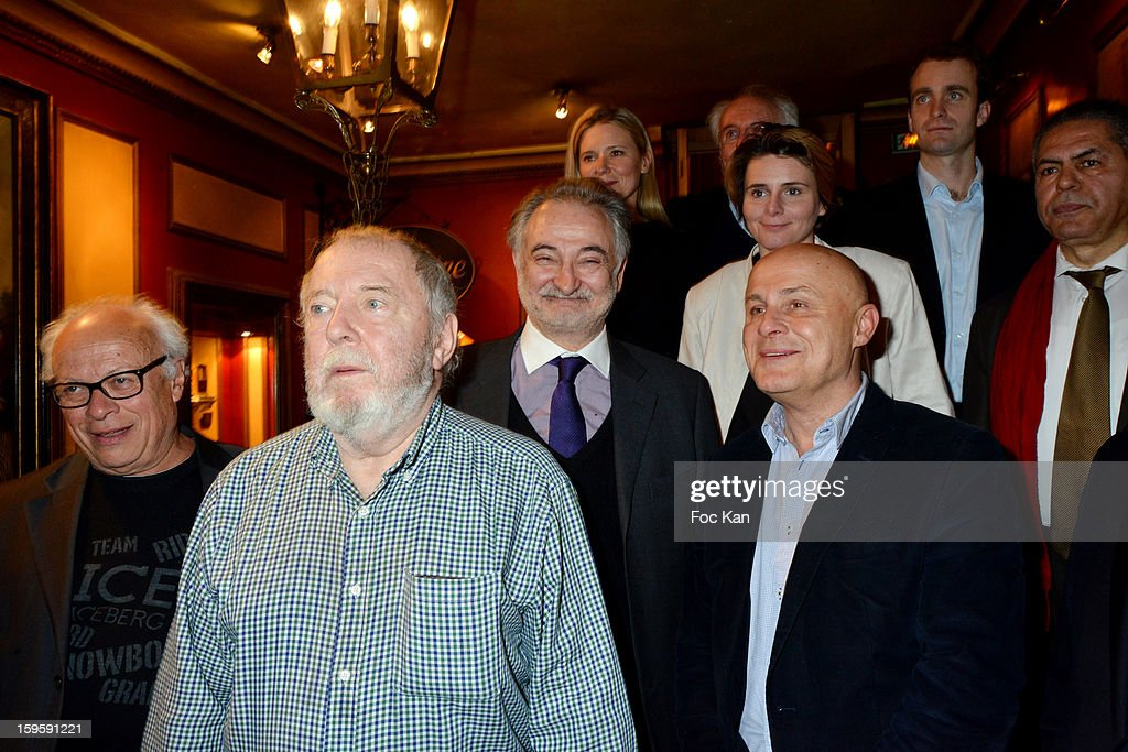Andre Bercoff, Clement Rosset, Jacques Attali, Olivier Poivre d'Arvor (2nd row L-R) Aude Lancelin and Caroline Fourestt, attend the 'Procope Des Lumieres 2013 ' Literary Awards Ceremony at Le Procope on January 16, 2013 in Paris, France.