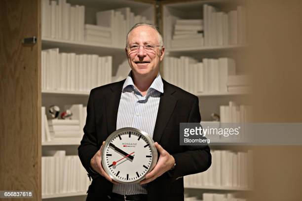Andre Bernheim chief executive officer of Mondaine Watch Ltd poses for a photograph following an interview at the company's booth during the 2017...