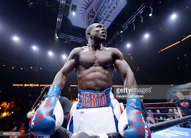 Andre Berto celebrates his knock out win over Josesito Lopez during their welterweight bout at Citizens Business Bank Arena March 13 2015 in Ontario...