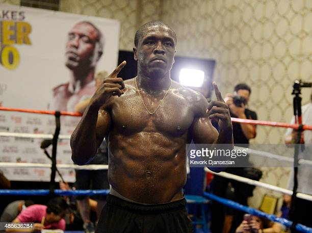 Andre Berto former twotime welterweight world champion poses during a media workout in preparation for his fight against Floyd Mayweather Jr August...