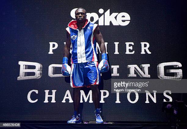 Andre Berto is introduced for his welterweight bout against Josesito Lopez at Citizens Business Bank Arena March 13 2015 in Ontario California